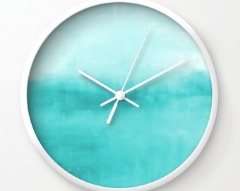 Teal Wall Clock, Turquoise Wall Art, Modern Wall Clock, Home Decor, Bathroom