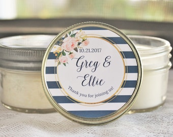 Navy and Blush Bridal Shower Favor/ Set of 12 4 oz Candle Favors / Steel Blue and Blush Wedding / Navy and Gold Wedding / Soy Candle Favor
