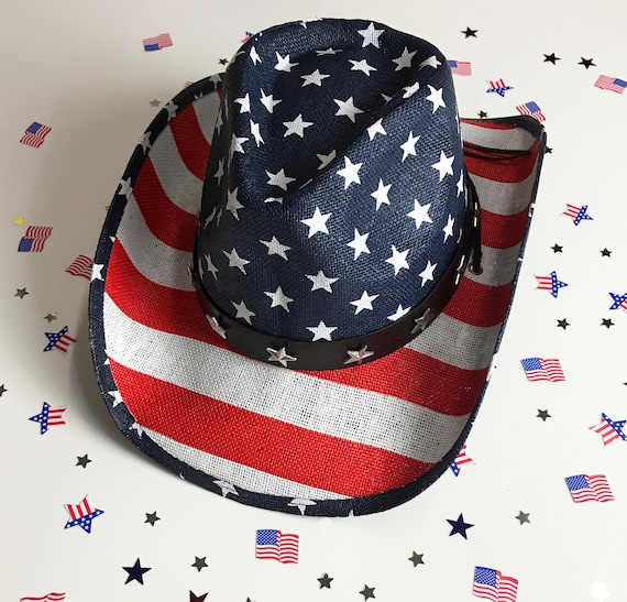 df2f8188bcd Labor Day Hat Western USA Flag Hat 4th of July Straw Hat
