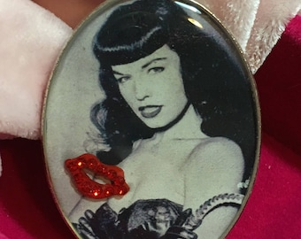 Bettie Page 50's Icon Handmade Resin Brooch
