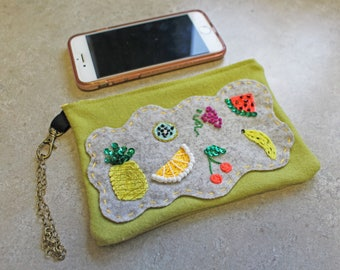 Hand Embroidered Wool Wristlet-Fruits of my Labor-Fun and Flirty bag-food lover-Chefs bag-Wool N Rustics OriginalDesign