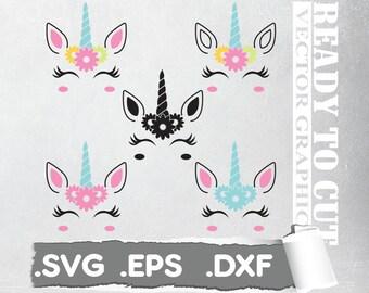 Unicorn svg unicorn eyelashes unicorn birthday svg Magical unicorn svg unicorn face svg Cricut, Silhouette Cut File SVG DXF EPS