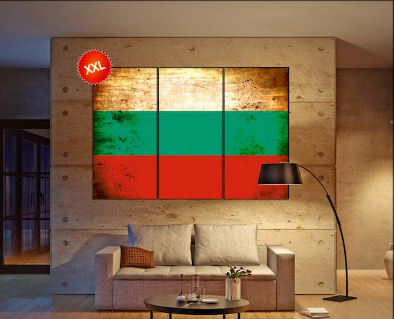 Bulgaria flag canvas wall art art print large  canvas wall art print Bulgaria country flag Wall Home office decor interior Office Decor