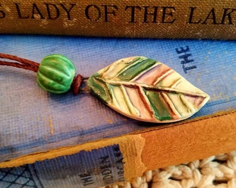 Ceramic Essential Oil Diffuser Leaf Necklace, Handmade Stoneware Aromatherapy Jewelry, Adjustable