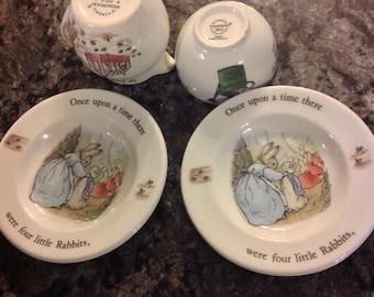 Wedgwood Barlaston Beatrix Potter Peter Rabbit Childrenu0027s dishes 4 pieces & Peter rabbit dishes | Etsy