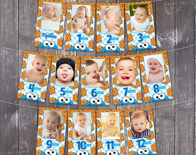 Cookie Monster Inspired First Year Photo Banner - 12 Month Photo Banner, Cookie Monster 1st Birthday   INSTANT Download DIY Printable PDFs