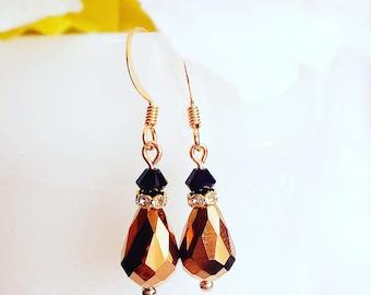 Delicate Drop Earrings - Antique Earrings - Bronze Earrings - BELLE EPOQUE Bronze