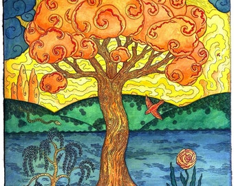 Tree of Happiness Hand Made Blank Card, Archival Reproduction of an original watercolor etching.