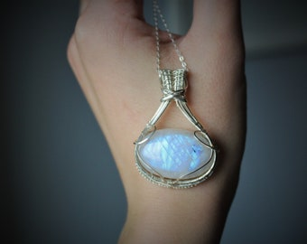 Large Flashy Blue Rainbow Moonstone Sterling Silver Wire Wrapped Gemstone Necklace
