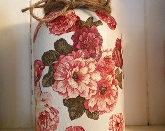 Vintage old english floral mason jar, shabby chic, home decor, farmhouse country kitchen, ready to ship
