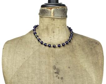 Vintage Blue Glass Bead Necklace, Blue Bead Necklace, Dark Blue Necklace, Art Glass Bead Necklace