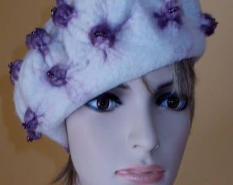 nuno felted organic shibori beaded merino wool hat cap beret ooak avantgard