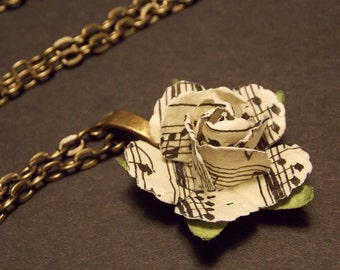 Sheet Music Rose Necklace