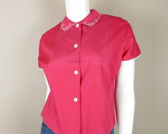 Vintage 1950s Pink Cotton Blouse / Embroidered Peter Pan Collar / Size S / Summer Wedding Fashion / Short Sleeve, Button Front