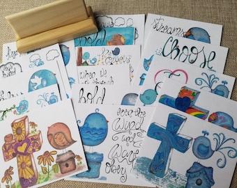 Streams of Hope Journal Card Set,wooden card holder,cards,birds,bible story,Lent,Easter,Jesus,faith,spring,handmade,hand drawn, hope, cross