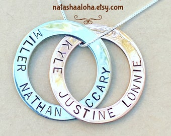 Family Necklace, Circle Necklace , Mother Necklace , Russian Rings, Interlocking Circles, Eternal Necklace , Hand Stamped, Natashaaloha