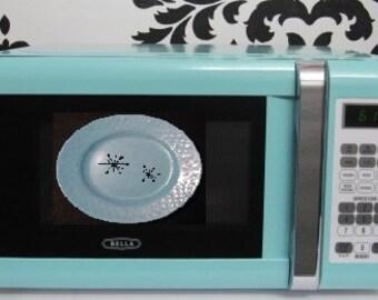 Aqua Sky Microwave Oven , Aqua Sky Bella Microwave Oven 700 Watts , Aqua Sky Kitchen Aid, Vintage Aqua Sky Small Plate Retro Starburst
