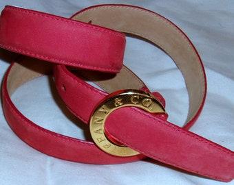 Vintage Tiffany & Co. Red Suede Belt