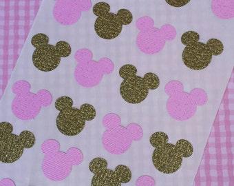 24 GOLD PINK MINNIE Heads glitter Sticker seals birthday shower party