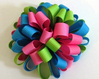 Spring Easter Loopy Puff Bow, Green, Pink, Blue