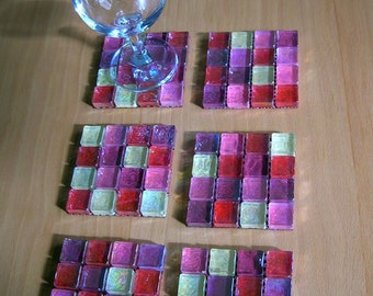 6 Rose Glass Mosaic Coasters