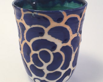 Handmade Pottery Wheel Thrown Porcelain Coffee Cup Floral Blue Ceramic