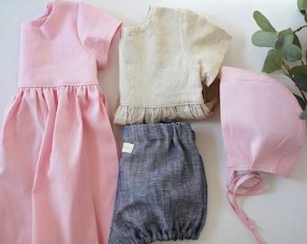 Linen Baby Set, Capsule Starter Set, Linen Baby clothes, Linen Bonnet, Linen Blouse, Linen Bloomers, Linen Dress, Linen Childrens Clothing