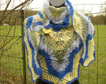 Multicolor shawl knitted by hand really brooch
