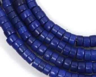 4mm Turquoise Heishi Rondelle Beads 16 inches full strand - Cobalt / Indigo Blue (e7188)