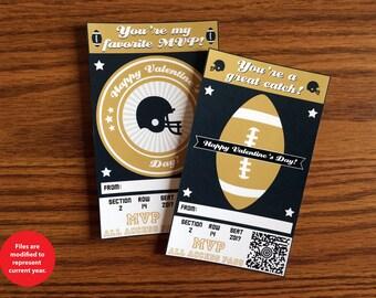 Football Valentines - Instant Download - Valentine's Day Digital Printable -  Digital Valentines - Kids Valentines - Sports Valentines