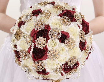 Brooch bouquet Burgundy bouquet Broach bouquet Gold burgundy bouquet Bridal bouquet Fabric wedding bouquet Crystal bouquet Roses bouquet