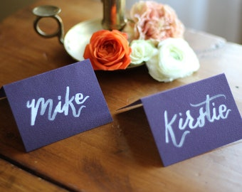 Tented place cards with white brush lettering | Custom calligraphy | Wedding, party, or event