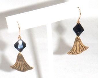 Black Crystal and Gold Flower Petal Dangle Earrings