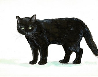 "Art Original Watercolor Animals Pets  "" Black CAT """