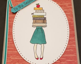 Graduation Greeting Card- Lots of Books - Congratulations Handmade Card- Stampin Up- To the Graduate- Female Carrying Books - Cerebrate