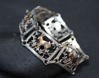 Sterling Silver Copper Dear Link Bracelet, Sterling Silver Mixed Metal Link Bracelet, Sterling Silver Woodland Bracelet, Deer Jewelry