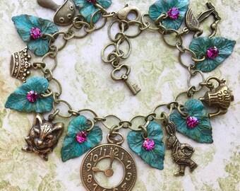 Alice in Wonderland Charm Bracelet - Alice in Wonderland Bracelet - Alice in Wonderland Jewelry - Fairy Tale Jewelry - Fairy Tale Bracelet