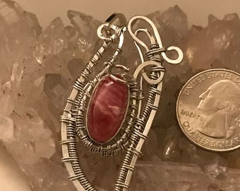 Wire Wrapped Rhodochrosite Pendant Necklace