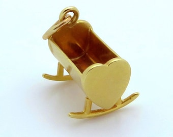 Vintage 14K Gold 3D Rocking Baby Cradle with Hearts Charm