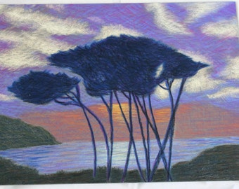 Purple Sunset- Original Pastel Drawing- 9x12 drawing