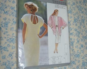Vintage 80s Burda 5727 Misses Dress an Jacket  Sewing Pattern - UNCUT - Size 8 10 12 14 16 18 20