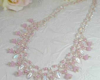 Woven Pearl Necklace with Pink Flowers Leaves and Swarovski Crystals