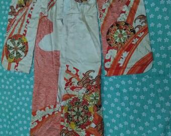 vintage RETRO SILK KIMONO japanese antique kimono