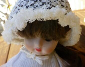 Antique white fine lace baby or doll hat, handmade
