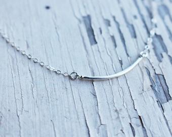 Subtle Curved Bar Necklace