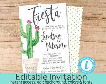 Fiesta Baby Shower Invitation, Cactus Baby Shower Invite, Succulent Baby Shower, Cactus Invitation Gender Neutral, EDITABLE Instant Download