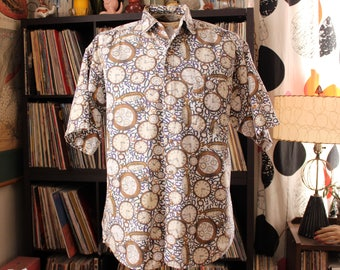 90s vtg mens novelty print pocket watch shirt . short sleeve cotton button down, oversized fit number shirt . APPROX size large