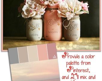 Distressed Mason Jars - Painted Mason Jars - Wedding Mason Jars - Shower Centerpiece - Wedding Centerpiece - Mason Jar Decor - Custom