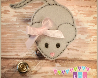 Cute Lil Mouse - Felt Badge Reel - Retractable ID Badge Holder - Embroidered