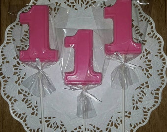 Number 1, First Birthday Chocolate Lollipops - set of 12